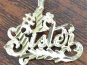 #1 SISTER CHARM PENDANT REAL 14K YELLOW GOLD FAMILY BIRTHDAY GIFT